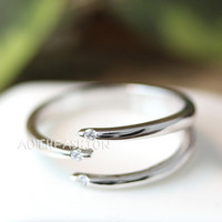 Triple Line Across Ring Adjustable Open ring Silver Plated Jewelry gift idea