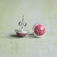 tiny silver, pink earring studs - tiny stud earrings rosy marbled for girls, women - everyday jewelry