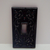 Fleur de lis Cast Iron Light Switch Plate Cover Single Wall Shabby Chic Distressed Rustic French Decor Classic Black