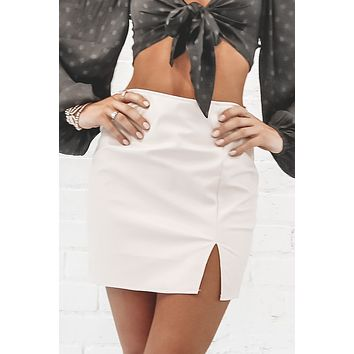 Tell Me About It Ivory Leather Skirt