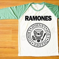 Ramones T-Shirt American Rock Band Punk Rock Shirt Green Sleeve Tee Shirt Women T-Shirt Men T-Shirt Unisex T-Shirt Baseball Tee Shirt S,M,L