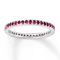 Stackable Ring Lab-Created Rubies Sterling Silver