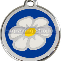 Dark Blue Daisy Enamel and Stainless Steel Personalized Custom Pet Tag with LIFETIME GUARANTEE ID Tag Dog Tags and Cat Tags Free Engraving