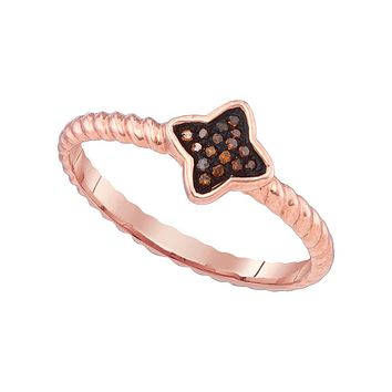 10k Pink Rose Gold Red Colored Diamond Cluster Womens Unique Small Ring 1/20 Cttw 88410