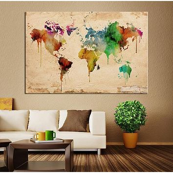 Watercolor World Map with Old Paper Canvas Wall Art Home Decor No:054