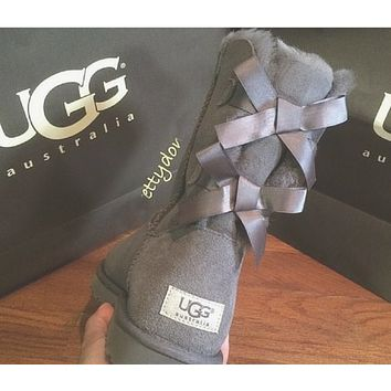 """""""UGG"""" Winter Popular Women Warm Two Bowknot Snow Boots Shoes Gray I/A"""