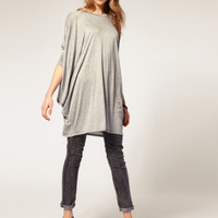 Plain Loose Sleeve Knitted Sweater Shirt