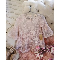 Pink Abalone Lace Top