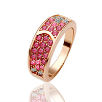 White And Rose Crystal 18K Gold Plated Ring