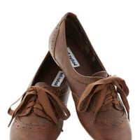 ModCloth Menswear Inspired, Scholastic Natural Nonchalance Flat
