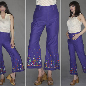 RARE Vintage 60s 70s HIGH WAISTED Pants / Royal Purple Bell Bottoms, Flares / Groovy, Hippie / Floral Embroidered Pants / Ooak, Flower Child