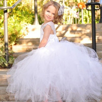 Kid's Girl's White Princess Flower Girl's Strap Bridesmaid Party wedding veil Mesh Dress for 1-12 Years Old Girl = 1932516292