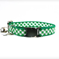 "Cat Collar - ""Rock This Town"" - Emerald Green Plaid / Check"