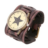 New Five Point Star Leather Man's Watch