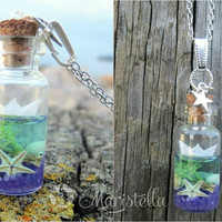 PAPER BOAT glass bottle ocean Necklace with resin filled with REAL seashells, real starfish, real/colored sand and origami sea paper boat.