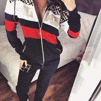 Fendi Autumn And Winter New Fashion Letter Print Long Sleeve Top Coat And Pants Two Piece Suit
