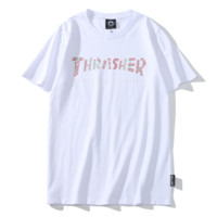 Thrasher Fashion Letter Print Women Men Top T-Shirt White