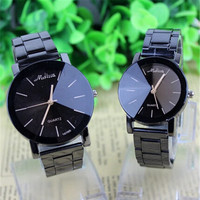 Simple Black Alloy Band Quartz Wrist Watch = 1930074820
