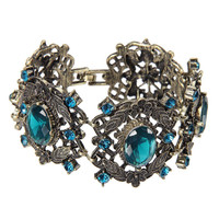 Blue Rhinestone & Grey Flower Bracelet