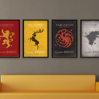 Game of Thrones Inspired Vintage Poster - House Set