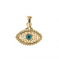 Evil Eye Amulet ~ 14K Solid Gold Filigree Charm Pendant - A/Small