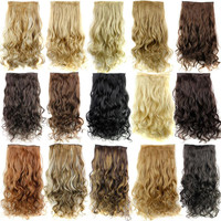New Long 24inch 60cm Ladies' Clip in On Hair Extensions Curly Synthetic Hairpiece 15 Colors Available Full Head Free Shipping