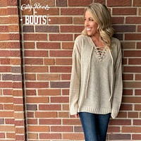 Oatmeal Lace Up Sweater