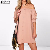 Sexy Off Shoulder Summer Mini Party Dress Casual Loose Half Sleeve Strapless