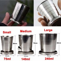 2015 New Portable Stainless Steel Folding Cup Metal Outdoor Retractable Cup With Lid Foldable Camping Travel Picnic Mug S M L