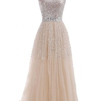 Champagne Tulle Long Prom Party Gowns Lf-a001