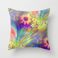 Psychedelic Dancers Throw Pillow by RokinRonda