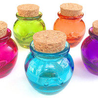 5 Colored Honey Pot Jars- 1.2 Ounce, 36 ML Bottle with Cork for Honey, Sugar, Potions, Spices, DIY Favors, Seasonings, Jams, Jelly