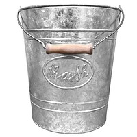 Waste Basket   Embossed Rings, Oval Label and Turned Wood Handle add Farmhouse Charm   Galvanized