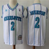 DCCK Charlotte Hornets 2 Larry Johnson M&N Swingman NBA Jerseys