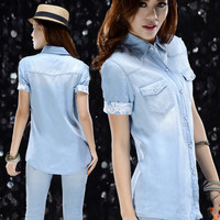 Free shipping short sleeve fashion denim blouse women shirt 2014 summer S M L quality promised
