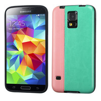 MYBAT Hybrid Leather TPU Case for Samsung Galaxy S5 - Pink/Teal Green