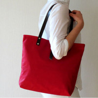 Canvas Tote Bag, Red Summer Bag, Leather Handles, Large Many Pockets, Purse,  Handbag, Shoulder Bag, Everyday Casual Sports Beach Red Bag