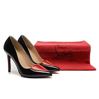 Christian Louboutin Black Patent Leather Heart High Heels 100mm