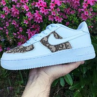 Nike Air Force 1 x Dior Print Contrast Shoes Women Men Trending Shoes White+Coffee