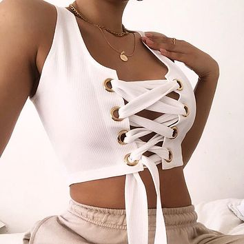2020 New Products Women's Fashion Personality Slim Navel Breast Strap Vest