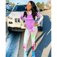 Champion Fashion New Letter Print Gradient Long Sleeve Sports Leisure Top And Pants Two Piece Suit