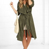 All Good Olive Green Suede Trench Coat