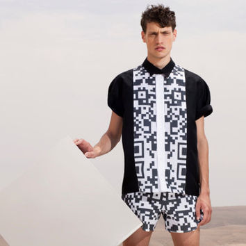 Button Up Men's Shirt - Black and White Shirt with QR print