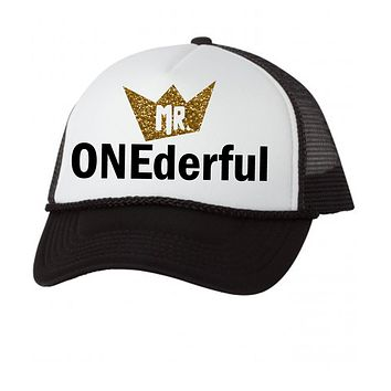 Mr Onederful Trucker Mesh Hat Baby Boy First Birthday