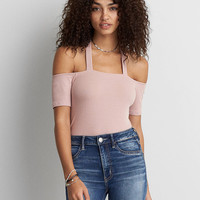 AEO Soft & Sexy Ribbed Off-The-Shoulder T-Shirt , Light Pink