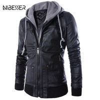 NIBESSER Men's Hoodies Leathers Jacket Locomotive Slim Fake Two-piece Male Leather And Coats Casual Men's Faux Leather Coat