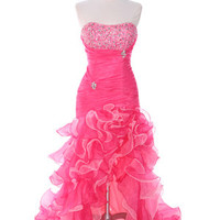 Hot Pink Prom Dresses, Hot Pink Long Evening Dress, Hot Pink Formal Gown from Sung Boutique Los Angeles, Category Evening Gowns