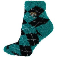 DCCKG8Q NFL Jacksonville Jaguars Black And Teal Argyle Fuzzy Socks