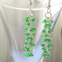 Shaggy Loops Earrings, Green Beaded Earrings, Chainmaille Earrings, Chain Maille, Dangle Earrings, Chandelier Earrings,