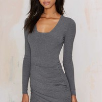 Nasty Gal Live and Let Die Ribbed Dress - Heather Gray